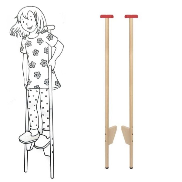 Childrens Stilts  GOKI Wooden Adjustable Poles Outdoor Fun
